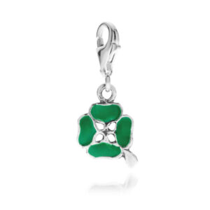 Four-Leaf Clover Charm in Sterling Silver and Enamel