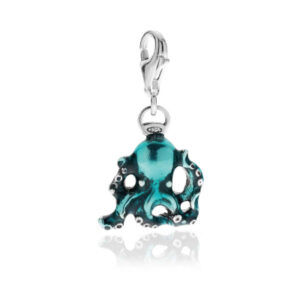Octopus Charm in Sterling Silver and Enamel