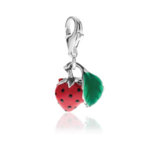 Strawberry Charm in Sterling Silver and Enamel