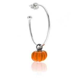 Pumpkin Single Earring in Sterling Silver & Enamel